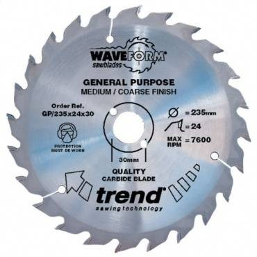 Trend GP/250X30X30 Saw blade general purpose 250mm x 30 th. x 30mm