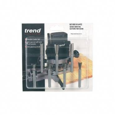 Trend SET/DC1X8MMTC 7 pce dovetail Centre cutter set