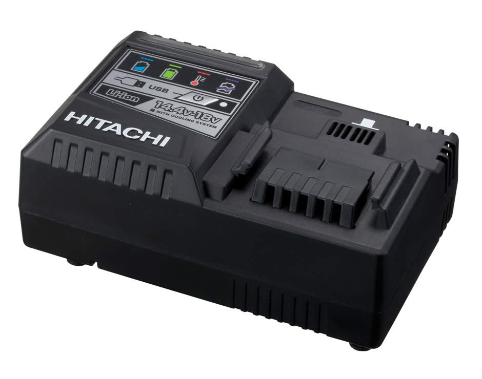Hitachi UC18YSL3 14.4-18v Li-Ion Slide Rapid Charger with Cooling System & USB Port