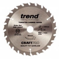 Trend CSB/16524T CraftPro Saw Blade 165mm x 24 Teeth x 20mm Thin