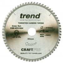 Trend CSB/AP21664 CraftPro Saw Blade Aluminium / Plastic 216mm x 64 Teeth x 30mm