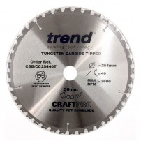 Trend CSB/CC25440T CraftPro Saw Blade Crosscut 254mm x 40 Teeth x 30mm Thin Kerf