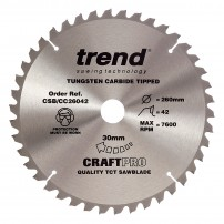 Trend CSB/CC26042 CraftPro Saw Blade Crosscut 260mm x 42 Teeth x 30mm
