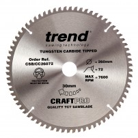Trend CSB/CC26072 CraftPro Saw Blade Crosscut 260mm x 72 Teeth x 30mm