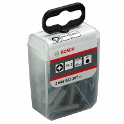 Bosch Tic Tac Box 25mm PZ2 25Pc Screwdriver Bit Set 2608522187