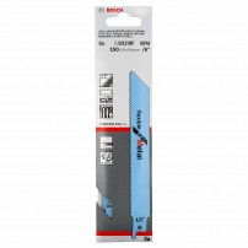 Bosch S922BF BIM 150mm Reciprocating Saw Blades Flexible for Metal x5 2608656014