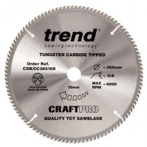 Trend CSB/CC305108 CraftPro Saw Blade Crosscut 305mm x 108 Teeth x 30mm
