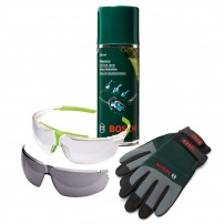 Bosch Green Wood Care Safety Kit inc Gloves, Glasses & Lubricant Spray