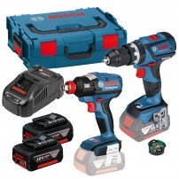Bosch GSB 18 V-60 C Combi inc GCY 30-4 & GDX 18 V-EC Impact Brushless Twin Kit inc 2x 5.0Ah Batts
