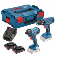 Bosch GSB 18 V-21 Combi & GDR 18 V-160 Impact Twin Pack inc 2x 2.0Ah Batts