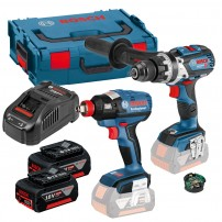 Bosch GSB 18 V-85 C Combi inc GCY 30-4 & GDX 18 V-EC Impact Brushless Twin Kit inc 2x 5.0Ah Batts