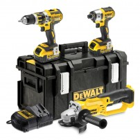 Dewalt DCK382M2 18v XR Brushless Impact Driver, Combi Drill & Angle Grinder Triple Pack with 2x 4Ah Batteries