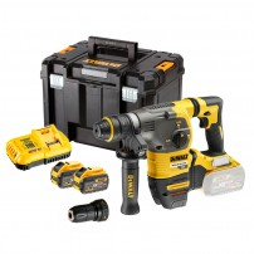 DeWalt DCH334X2-GB 54v XR FLEXVOLT Cordless Brushless SDS+ Plus Hammer Drill inc 2x DCB547 Batts & QCC