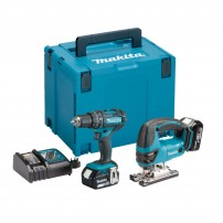 Makita DLX2134MJ 18v LXT Twin Kit DJV180 Jigsaw & DHP482 Combi Drill inc 2x 4.0Ah Batts