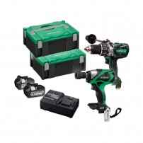 Hitachi KC18DPL/JB 18v Cordless Brushless Twin Kit Combi Drill & Impact Wrench 2x 6.0Ah Batts