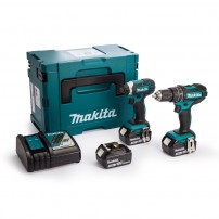 Makita DLX2131JX1 18v Cordless 2 Piece Kit DHP482 Combi + DTD152 Impact Driver inc 3x 3Ah Batteries