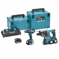 Makita DLX2137PMJ 18v Cordless Twin Kit DHP482 Combi & DHR263 SDS+ Hammer Drill inc 4x 4.0Ah Batts