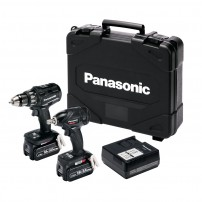 Panasonic EYC216LJ2G31 14.4v/18v Drill Driver / Impact Wrench Twin Kit inc 2x 5.0Ah Batts