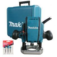 """Makita RP0900X 1/4"""" Plunge Router with Straight Guide & Router Bits in Carry Case"""