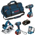 Bosch BAG+4DS 18v 4 Piece Cordless Tool Kit with 3x 4.0Ah in MBAG+ 0615990G8P