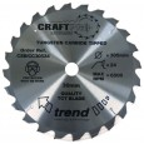 Trend CSB/CC30524 CraftPro Saw Blade Crosscut 305mm x 24 Teeth x 30mm
