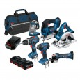 Bosch BAG+6DS 18v 6 Piece Cordless Tool Kit with 3x 4.0Ah in LBAG+ 0615990G8K
