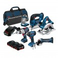 Bosch BAG+6RS 18v 6 Piece Cordless Tool Kit with 3x 4.0Ah in LBAG+ 0615990G8J