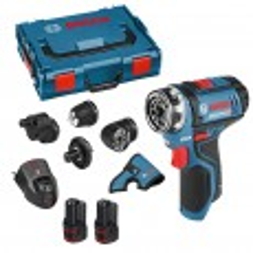 Bosch GSR 12V-15 FC 12v FlexiClick Drill Driver with 4x Chucks & 2x 2.0Ah Batts