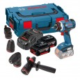 Bosch GSR 18 V-EC FC2 FlexiClick Brushless Drill Driver with 4x Chucks & 2x 5.0Ah Batts