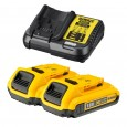 DeWalt DCB183X2/DCB113 2x 2.0Ah XR 18v Li-Ion Batteries and Charger Starter Kit