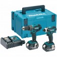 Makita DLX2012MJ 18v Combi Drill & Impact Driver Kit inc 2x 4Ah Batts in Makpac Case