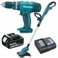 Makita DLX2114S 18v Cordless Twin Kit DHP453 Combi Drill & DUR181 Grass Trimmer inc 1x 3.0Ah Batt