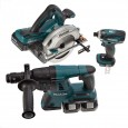 Makita DLX3029PTJ 18v 3 Piece Cordless Kit inc 4x 5.0Ah Batts and 3x MakPac Cases