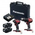 Panasonic EYC217LJ2G31R 14.4v/18v Red Combi Drill / Impact Driver Twin Kit inc 2x 5.0Ah Batts