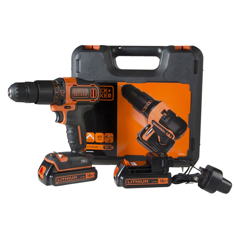 Black & Decker CHD18KB 18v Combi Drill inc 2x 1.5Ah Batts