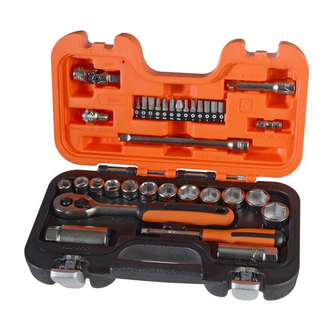 "Bahco S330 Ratchet & Socket Set of 34 Metric 1/4"" & 3/8"" Drive"